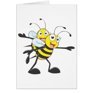 Happy Mother and Daughter Bee Having Fun Card