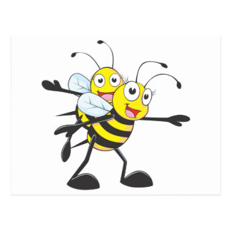 Happy Mother and Daughter Bee Having Fun Postcard
