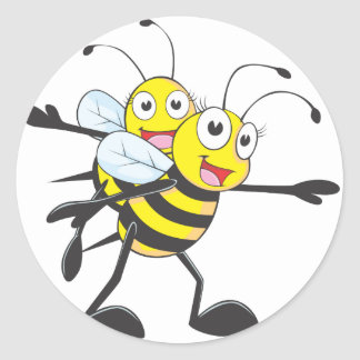 Happy Mother and Daughter Bee Having Fun Round Sticker