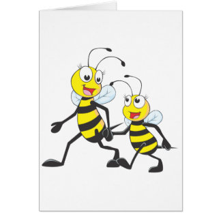 Happy Mother and Daughter Bee Walking Together Card