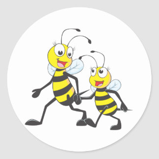 Happy Mother and Daughter Bee Walking Together Classic Round Sticker