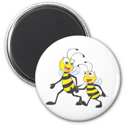 Happy Mother and Daughter Bee Walking Together 2 Inch Round Magnet