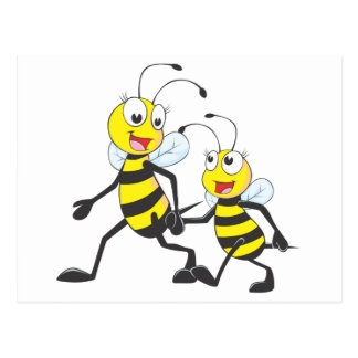 Happy Mother and Daughter Bee Walking Together Postcard