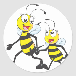 Happy Mother and Daughter Bee Walking Together Round Stickers