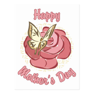 Happy Mother's Day Rose and Butterfly Postcard