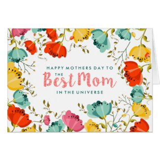 Happy Mother Day Spring Flowers Frame Card