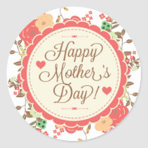 Happy Mother Day Text & Colorful Floral Design Classic Round Sticker