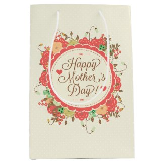 Happy Mother Day Text & Colorful Floral Design Medium Gift Bag
