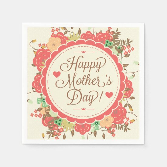 Happy Mother Day Text & Colorful Floral Design Paper Napkin