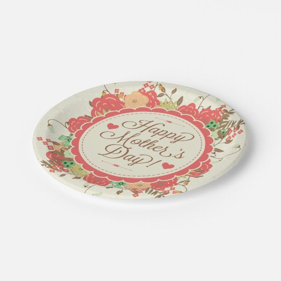 Happy Mother Day Text & Colorful Floral Design Paper Plate