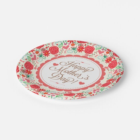 Happy Mother Day Text & Colorful Floral Wreath 2 Paper Plate