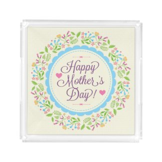 Happy Mother Day Text & Colorful Floral Wreath Square Serving Trays