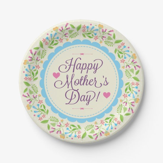 Happy Mother Day Text & Colorful Floral Wreath Paper Plate