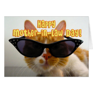 Happy Mother-in-Law Day - Cool Cat with Sunglasses Card