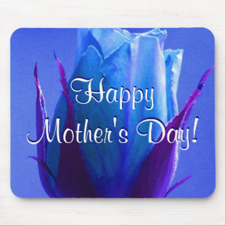 Happy Mother s Day Blue Rose Mouse Pad