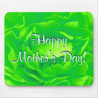 Happy Mother s Day Bright Green Rose Mouse Mat