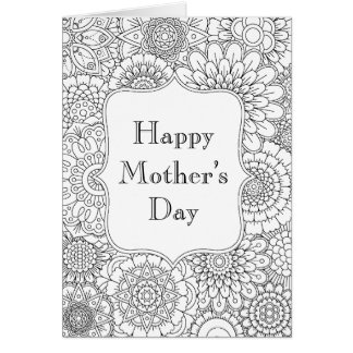 Adult coloring page greeting cards zazzle for Mothers day adult coloring pages