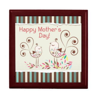 Happy Mother's Day Cute Birds on Stripes Jewelry Box