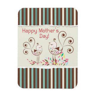 Happy Mother's Day, Cute Birds on Stripes Rectangular Photo Magnet