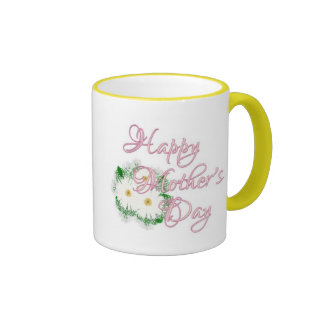 Happy Mother' s Day Daisies Ringer Coffee Mug
