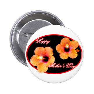 Happy Mother s Day Hibiscus Black Red Oval The MUS Button