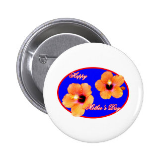 Happy Mother s Day Hibiscus Blue Red Oval The MUSE Pinback Buttons