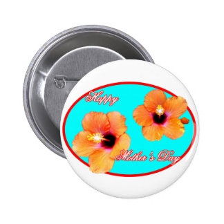Happy Mother s Day Hibiscus Cyan Red Oval The MUSE Pinback Buttons