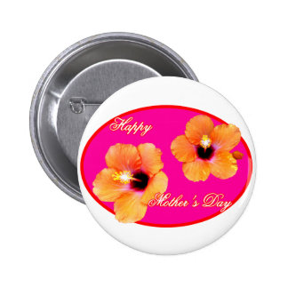 Happy Mother s Day Hibiscus Magenta Red Oval The M Button