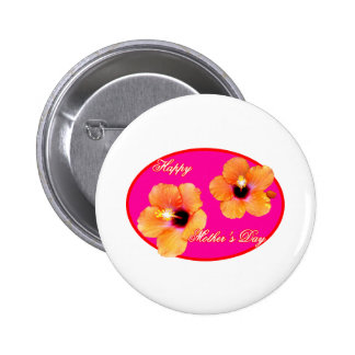 Happy Mother s Day Hibiscus Magenta Red Oval The M Buttons