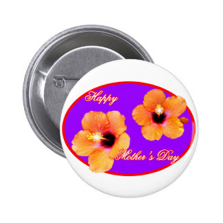 Happy Mother s Day Hibiscus Purple Red Oval The MU Buttons
