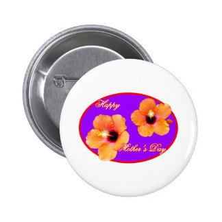 Happy Mother s Day Hibiscus Purple Red Oval The MU Pin