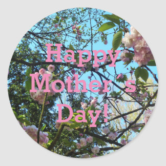 Happy Mother´s Day, Pink Cherry Blossom, Photo Classic Round Sticker