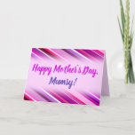 """[ Thumbnail: """"Happy Mother's Day""""; Pink, Purple Stripes Pattern Card ]"""