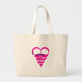 Happy Mother's Day, pink ribbon heart Bags