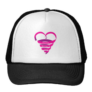 Happy Mother's Day, pink ribbon heart Trucker Hat