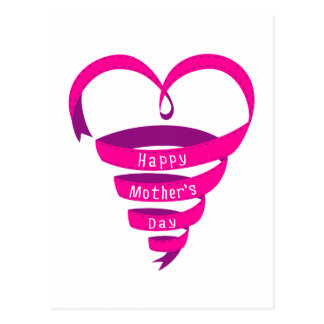 Happy Mother's Day, pink ribbon heart Post Card