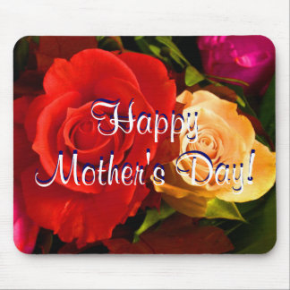 Happy Mother s Day Red Yellow Roses Mouse Pad