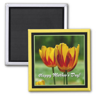 Happy Mother's Day! Tulips yellow red Magnet