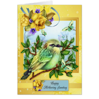 Happy Mothering Sunday, With Bird Butterflies Card