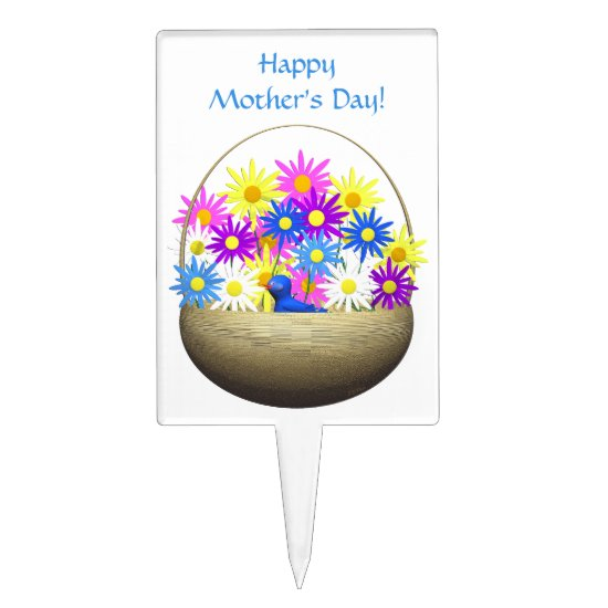 Happy Mothers Day Basket of Daisies and Blue Bird Cake Topper