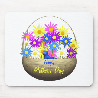 Happy Mothers Day Basket of Daisies and Blue Bird Mouse Pad