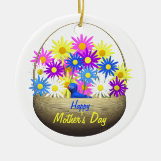 Happy Mothers Day Basket of Daisies and Blue Bird Christmas Tree Ornament