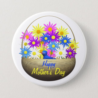Happy Mothers Day Basket of Daisies and Blue Bird Pinback Button