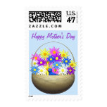Happy Mothers Day Basket of Daisies and Blue Bird Postage