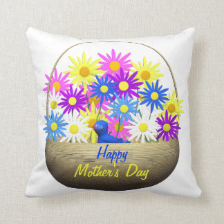 Happy Mothers Day Basket of Daisies and Blue Bird Throw Pillow