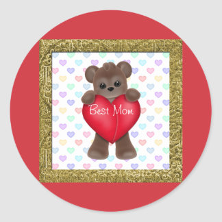 Happy Mother's Day Bears Classic Round Sticker