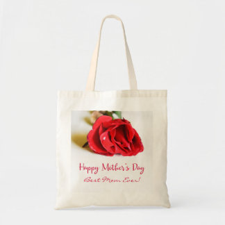 Happy Mother's Day Best Mom Ever + Single Red Rose Tote Bag
