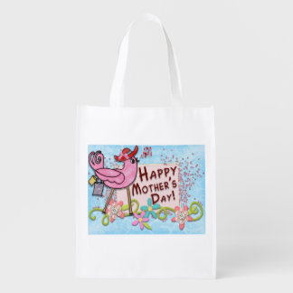Happy Mother's Day Bird Reusable Grocery Bags