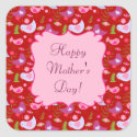 Happy Mother's Day Birds 'n Blooms Square Stickers