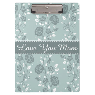 Happy Mother's Day Blue Floral Design Clipboard